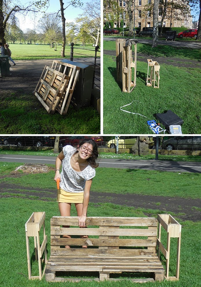 Lara Luna Bartley, Edinburgh, urban intervention, pallet, bench, meadows
